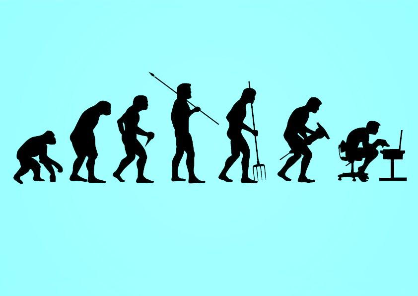 Linea evolutiva dell'Uomo, dal primate all'Homo Technologicus... | Image by Vector Open Stock | CCBY2.0