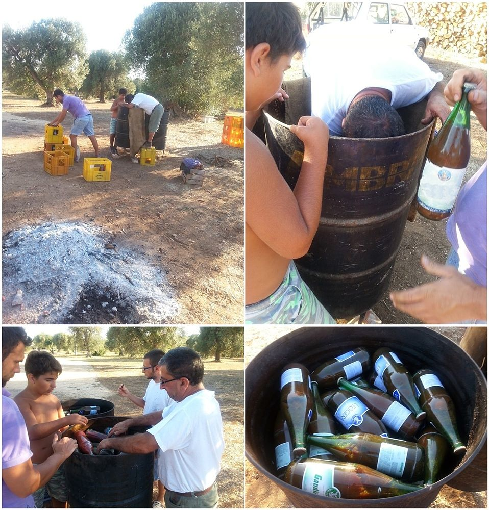 The placing of the bottles with the sauce ... Now begins the difficult period of boiling