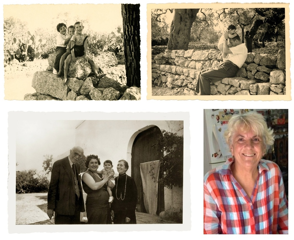 From the top: In our farmhouse in Mola di Bari ... Me (left) with two little friends ... then with dad ... and in my mother's arms, between the two grandparents. Today...