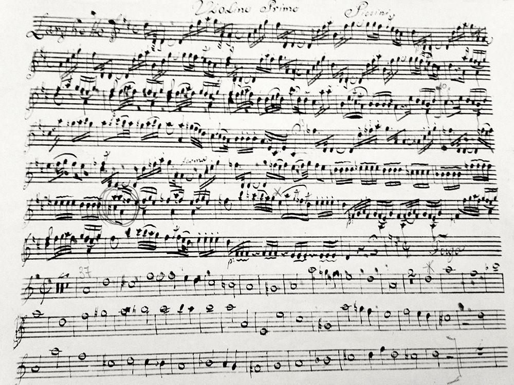 Particolare del manoscritto con la Messa in re Maggiore di Niccolò Piccinni, ritrovato a Lisbona, 1780
