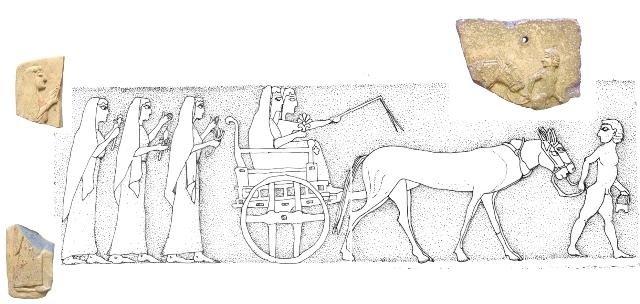 Frammenti e ricostruzione di pinax con scena di processione verso il santuario di Atena a Timpone della Motta, VI sec. a.C., Museo della Sibaritide - Ph. Museum Francavilla