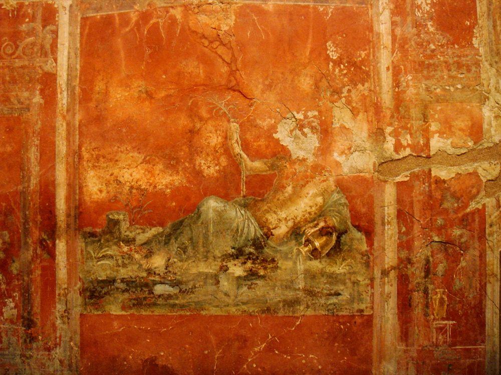 Raffigurazione allegorica del fiume Sarno su un affresco pompeiano della Casa dei Triclinii - Ph. Stefano Bolognini | CCBY2.0