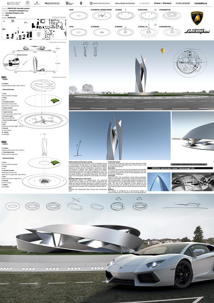 Tavola con il progetto di Enrico Pata per il concorso Lamborghini