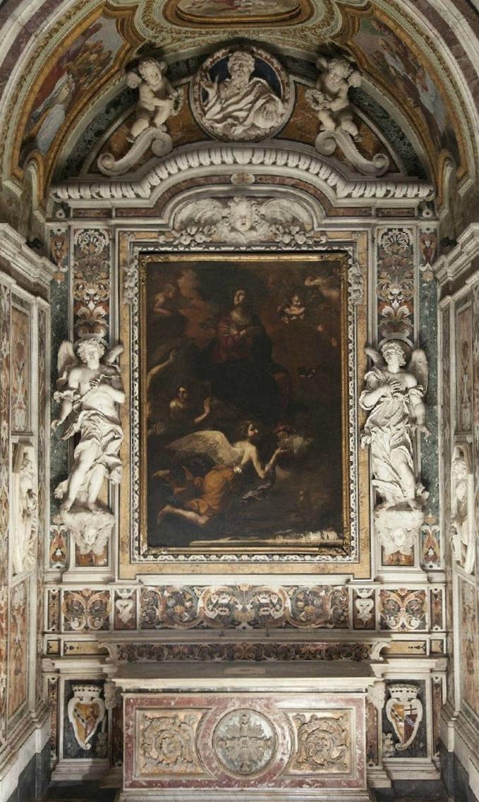 Scorcio della Cappella dell'Assunta, con l'omonimo dipinto del Guercino, XVII secolo, Chiesa di S. Francesco delle Monache, Aversa (Ce) - Ph. Comune di Aversa
