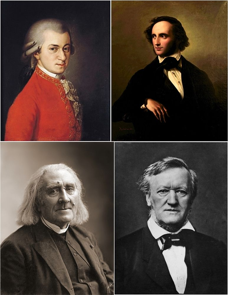 I compositori Wolfgang A. Mozart, Felix Mendelssohn Bartholdy, Franz Liszt, Richard Wagner