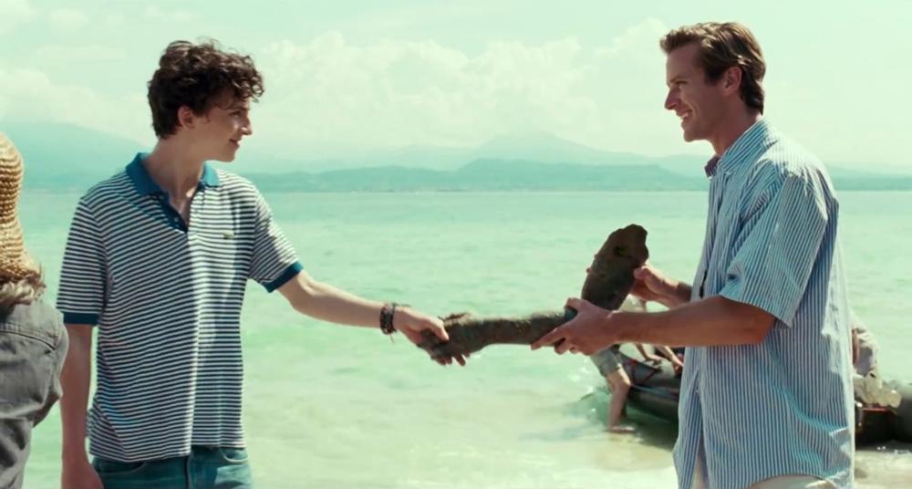 Elio e Oliver in una scena del film