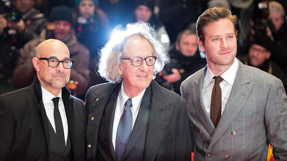 Stanley Tucci con Geoffrey Rush e Armie Hammer al Festival di Berlino 2017