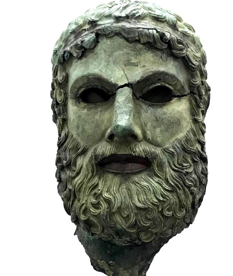 """Testa virile c.d. """"di Basilea"""", bronzo, V sec. a.C., Museo Archeologico Nazionale di Reggio Calabria - Ph. Giuseppe Mantella"""