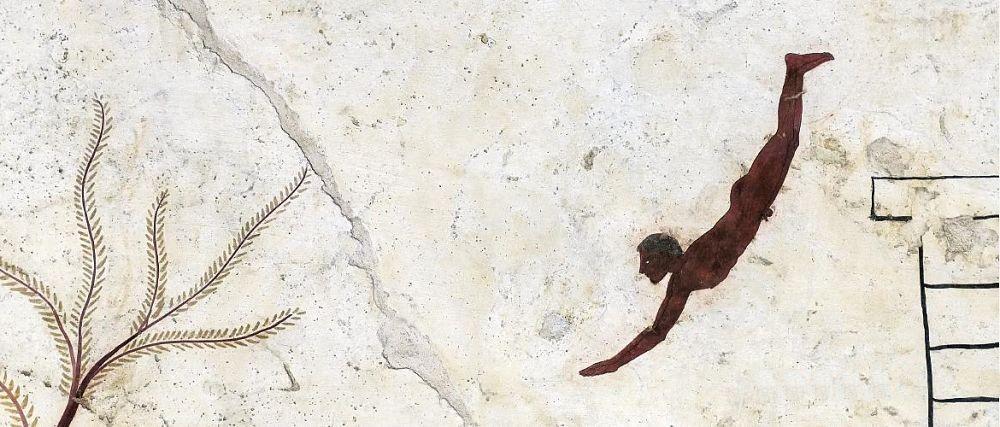 Dettaglio di affresco dalla Tomba del Tuffatore, V sec. a.C., Museo Archeologico Nazionale, Paestum