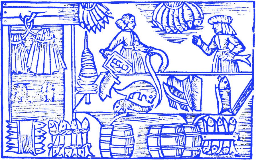 Lavorazione del pesce in un'antica xilografia