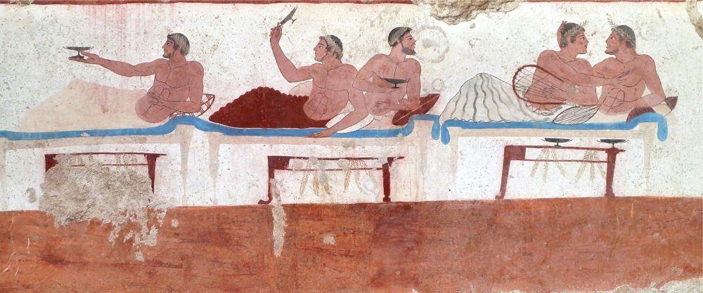 Affresco con scena di simposio da una delle lastre che compongono la Tomba del Tuffatore, Paestum, Museo Archeologico Nazionale