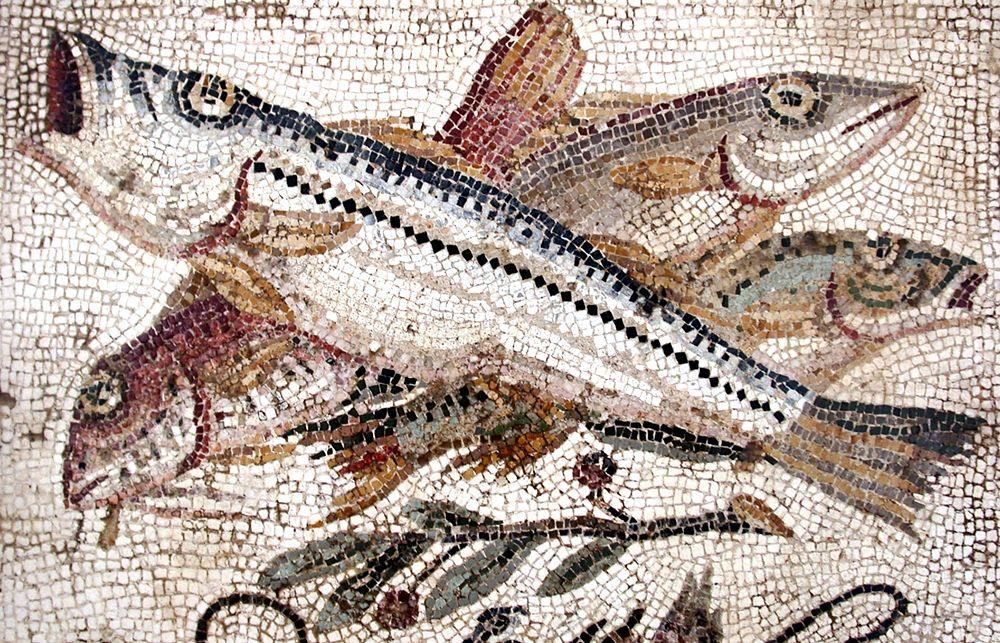 Natura morta con pesci, mosaico pompeiano, I sec. d.C.