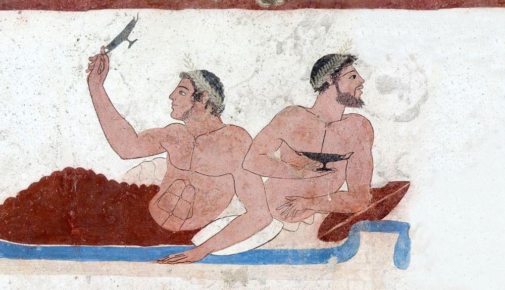 Part. della scena di simposio della Tomba del Tuffatore, Paestum, Museo Archeologico Nazionale