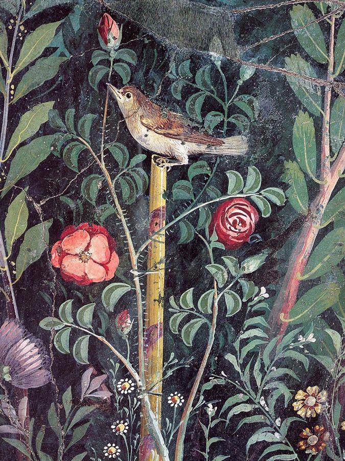 Part. di affresco con giardino. In primo piano un esemplare di rosa rossa antica, dalla Casa del Bracciale d'Oro, I sec. d.C., Pompei