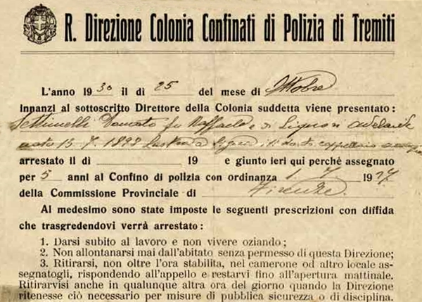 Part. di un provvedimento di confino alle Tremiti, disposto negli anni '30