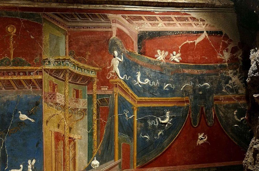 Part. degli affreschi del tablinum della villa romana di Positano - Ph. © Laura Noviello