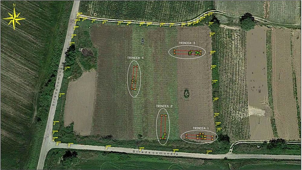 Veduta aerea del sito con le 4 trincee d'indagine preliminare - Image by Geomeda & engineering srls