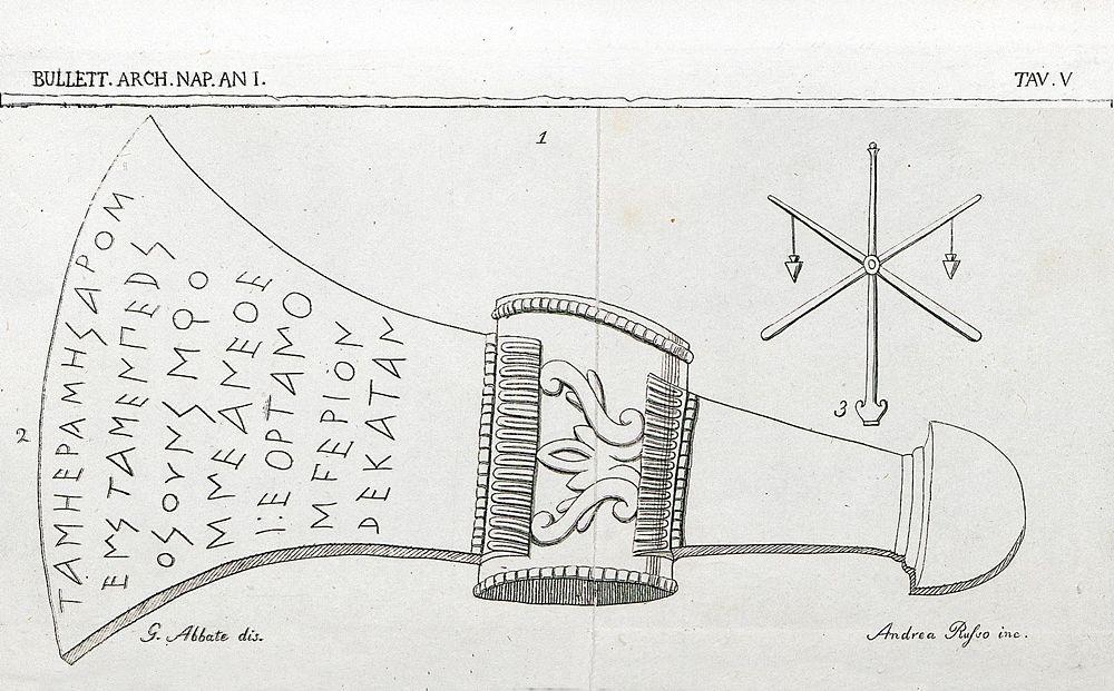 L'ascia votiva di S. Sosti nella tavola tratta dal Bollettino Archeologico Napoletano, 1853