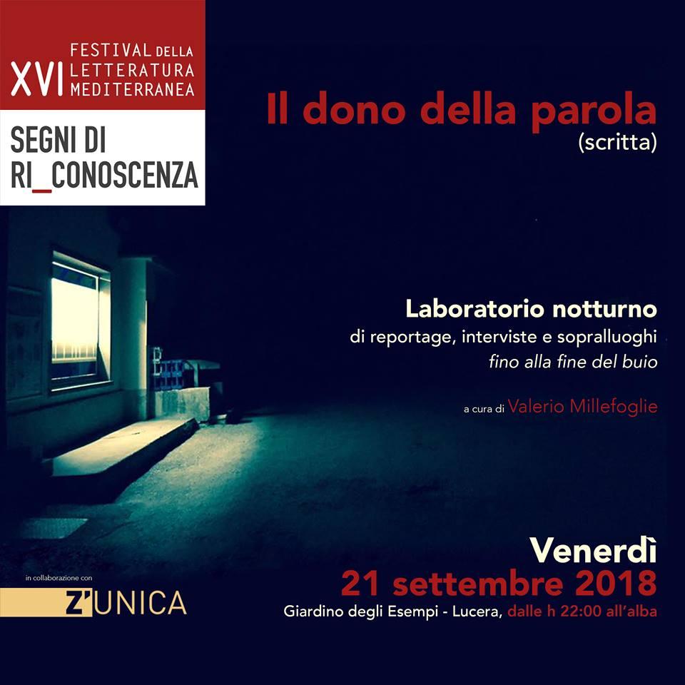 Il dono della Parola - Laboratorio di Reportage, a Lucera, 21 settembre