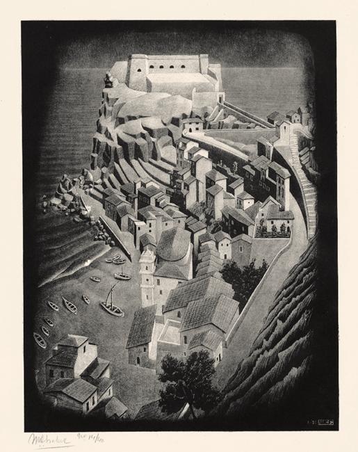 M.C. Escher, Scilla, Calabria, 1931, Litografia, 29,7 x 22,6 cm - Collezione Privata Italia