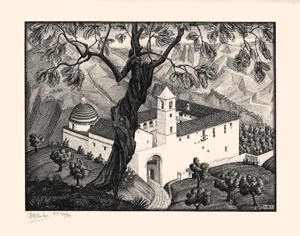 M.C. Escher, (Chiostro vicino a) Rocca Imperiale, Calabria, 1931, Litografia, 23,1 x 30,7 cm - Collezione Privata Italia