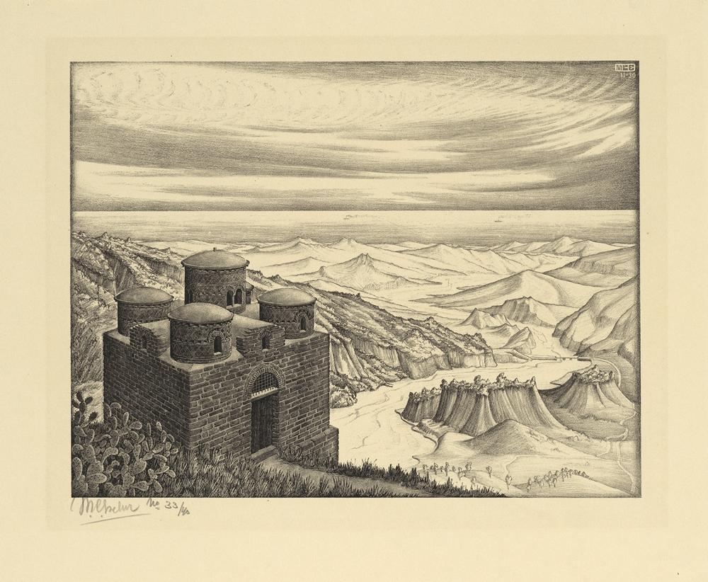 M.C. Escher, Cattolica di Stilo, Calabria, 1930, Litografia, 22,6 x 29,7 cm - Collezione Privata Italia