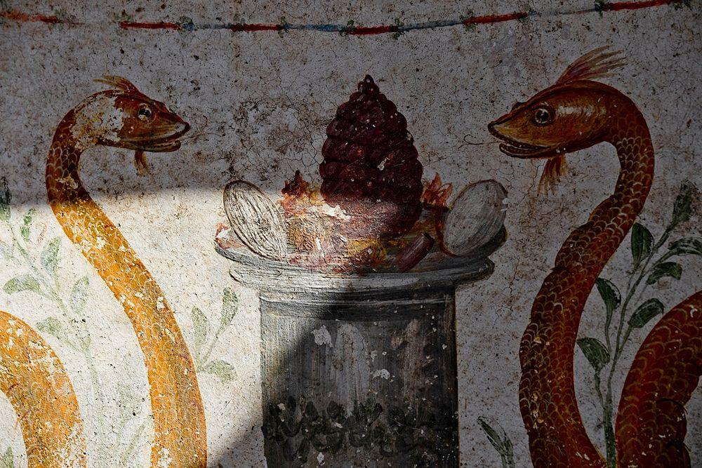 Part. dell'affresco con i due serpenti agatodemoni, I sec. d.C.