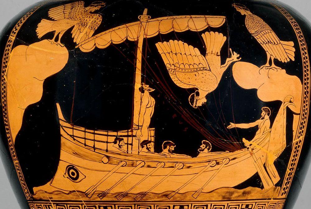 """Part. del vaso attico """"Ulisse e le sirene"""", IV sec. a.C., British Museum, Londra"""