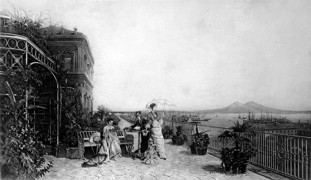 Il Giardino Pensile in un'incisione ottocentesca