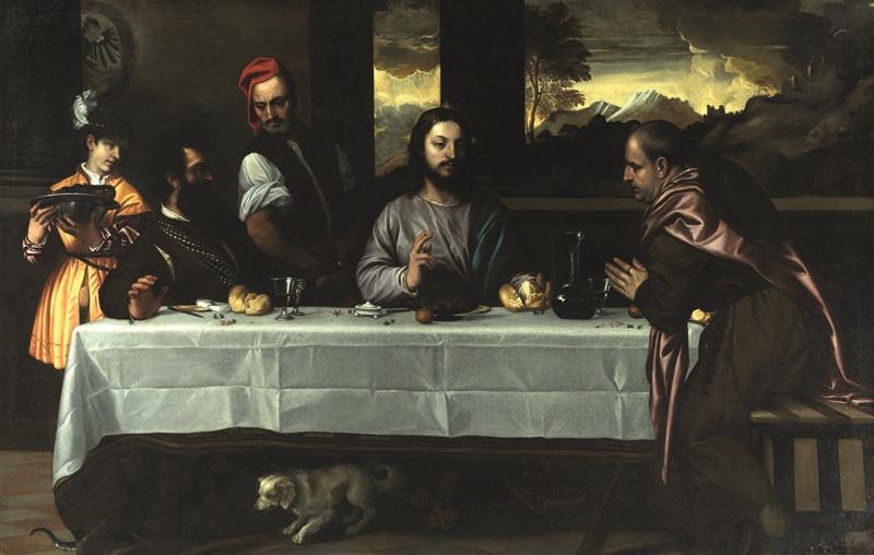 IGNOTO XVI SEC. La cena in Emmaus olio su tela inv. Q 868 Legato d'Avalos 1862