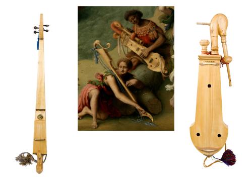 """Da """"La liberazione di Andromeda"""" di Piero di Cosimo, il tamburin de Béarn (a destra) e l'inedito Sangicorde"""