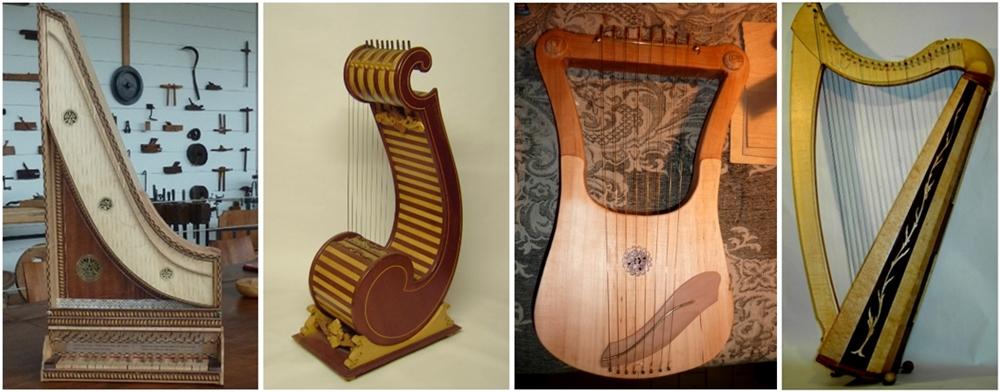 Gruppo di strumenti antichi ricostruiti da Sangineto: da sin.