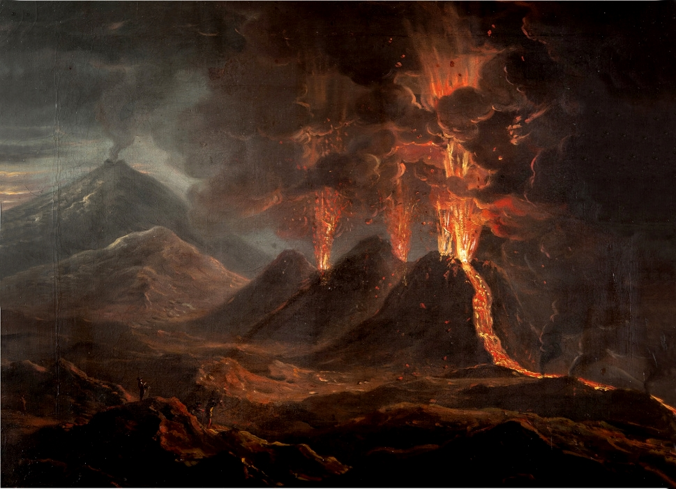 Coplestone Warre Bampfylde, A view of a Great Eruption on the South side of Mount Aetna in Sicily taken on the spot on the night of 19th of June 1766 | Collezione privata