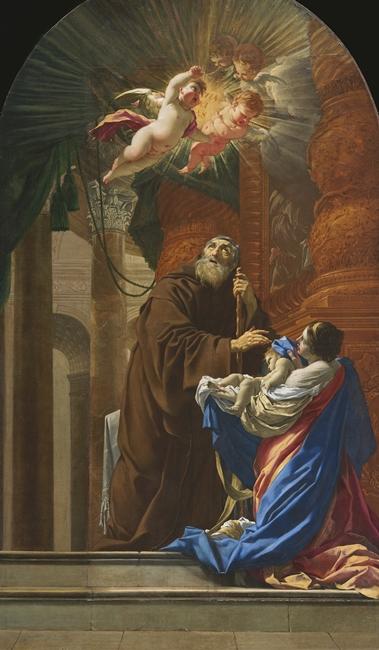 Simon Vouet, S. Francesco di Paola resuscita il bambino di sua sorella, 1648, Église de Saint-Henri-de-Lévis, Québec