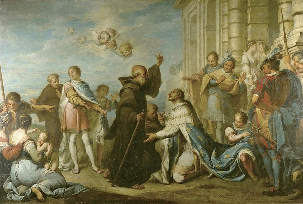 Jacques Dumont, detto le Romain - Il re Luigi XI accoglie san Francesco di Paola al suo arrivo a Plessis.les-Tours - Musée des Beaux Arts Tours