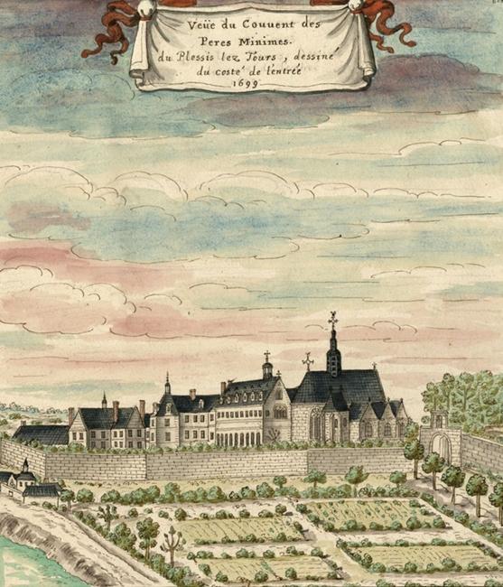 Il convento dei Minimi a Plessis-les-Tours in un'incisione del 1669
