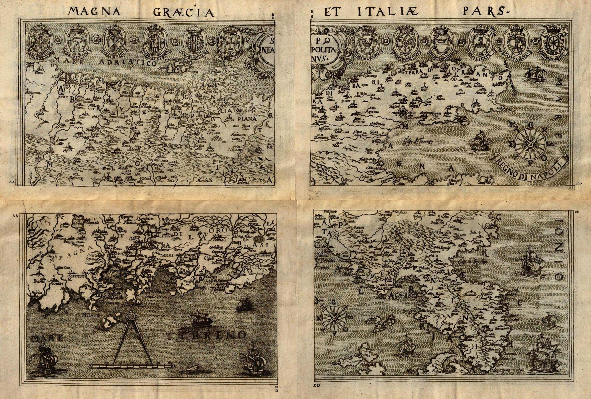 Prospero Parisio, Magna Grecia et pars Italiae, riedizione del 1683   A Napoli è in mostra la 1a edizione del 1592