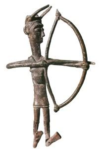Esemplare di bronzetto nuragico raffigurante un arciere, Museo Archeologico di Cagliari - Ph. Shardan