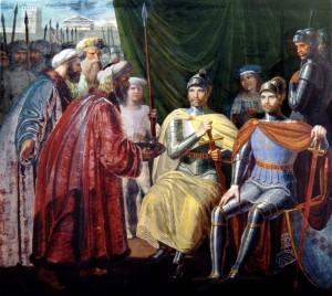 I normanni Ruggero I e suo fratello Roberto il Guiscardo ricevono le chiavi della città di Palermo dagli Arabi, affresco, 1830, Palazzo dei Normanni, Palermo