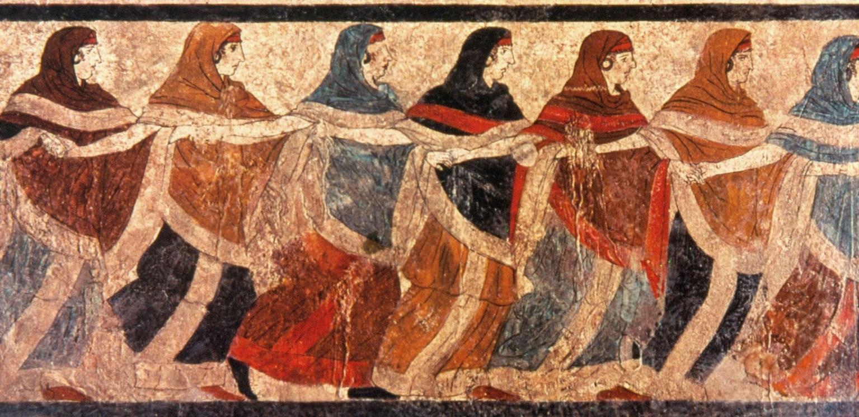 Affresco con le Danzatrici di Ruvo, V sec. a.C. - Napoli, Museo Archeologico Nazionale