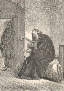 Il vecchio arpista girovago del Wilhelm Meister forse ispirato dalla figura del Giovinazzi, incisione 1871