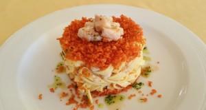 Ricette d'Autore | Tagliatelle in salsa di baccalà e pane mollicato con polvere di paprika