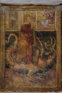 S. Marina martire di Antiochia vince il demonio in forma di drago - Giovanni Todisco da Abriola, XVI sec., Cripta della Cattedrale di Acerenza (Pz) – Ph. © Ferruccio Cornicello