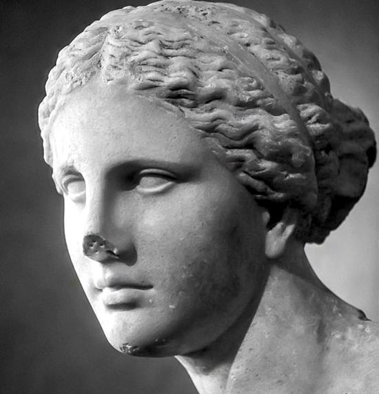 Testa di Afrodite, scultura greca