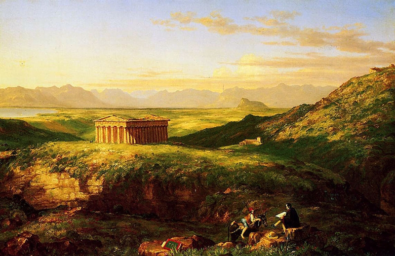 Thomas Cole - The Temple of Segesta with the Artist Sketching, olio su tela, 1843