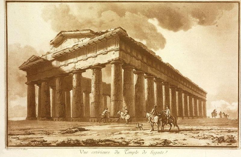 Jean-Pierre Houel - Vue exterieure du temple de Segeste, 1782 - Acquaforte - Houel, nel XVIII sec., fu uno dei primi stranieri a visitare e a ritrarre il tempio di Segesta