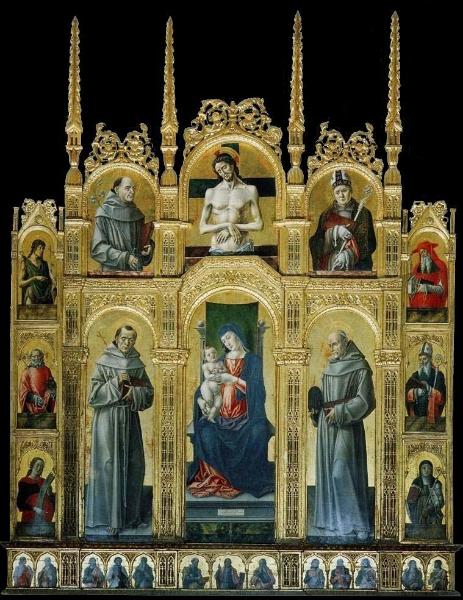 Calabria - Polittico di Bartolomeo Vivarini (1430-1491), tavola 200x260 cm, 1477 - Morano calabro (Cs), Colleggiata della Maddalena