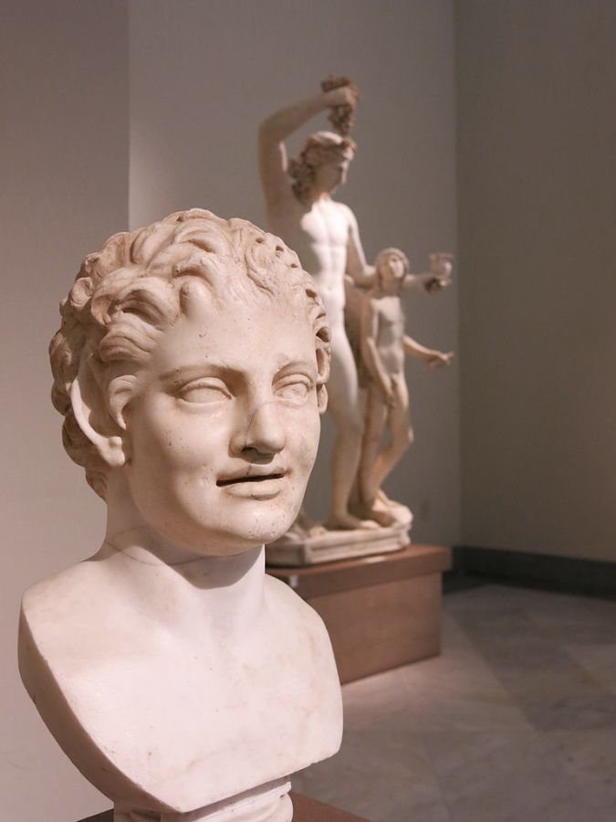 Testa di fauno e, sullo sfondo, gruppo di Dioniso e Eros, Museo Archeologico Nazionale, Napoli - Ph. Barbara Caffi | CCBY-SA2.0