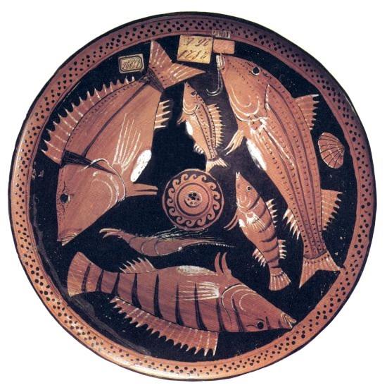 Piatto greco per pesce, IV sec. a.C., Italia meridionale, Museo Archeologico di Napoli