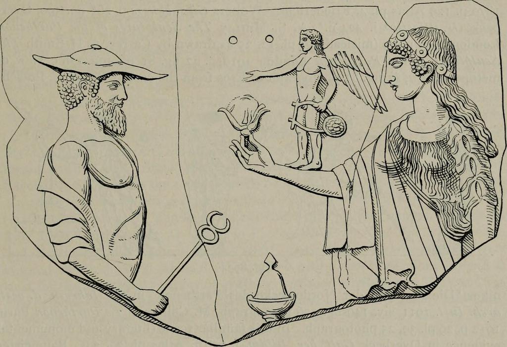 """Disegno raffigurante la Pinax con Hermes, Afrodite e piccolo erote, da Medma (oggi Rosarno), 470. a.C. - da """"Zeus : a study in ancient religion"""" di Arthur Bernard Cook, 1914"""
